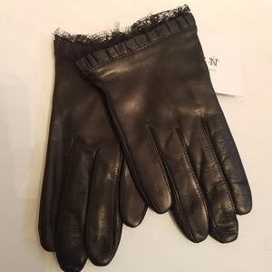 Thakoon Black Leather Peek-A-Boo Lace Gloves M NWT